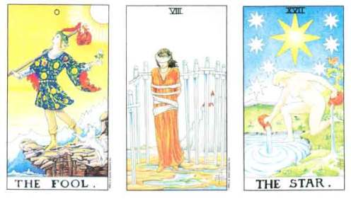The Fool, Eight of Swords, and The Star